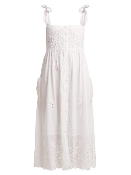 Juliet Dunn - Broderie Anglaise Cotton Midi Dress - Womens - White