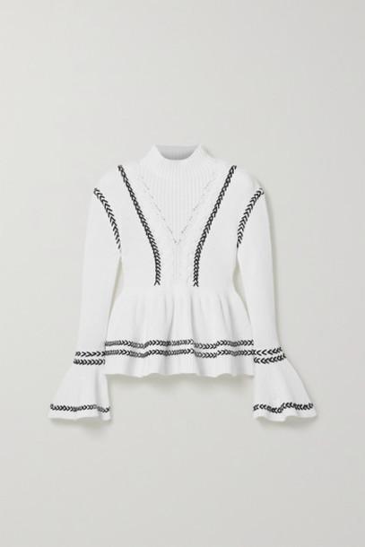 Self-Portrait - Whipstitched Cotton Peplum Sweater - White