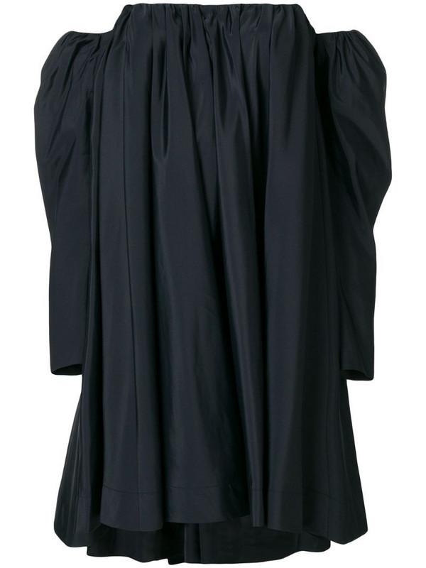 Calvin Klein 205W39nyc Ruched silk-blend bardot dress in black