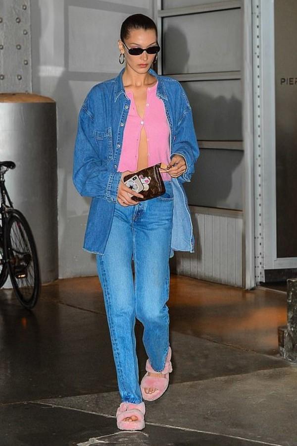 shoes fluffy fur slides bella hadid model off-duty denim jeans