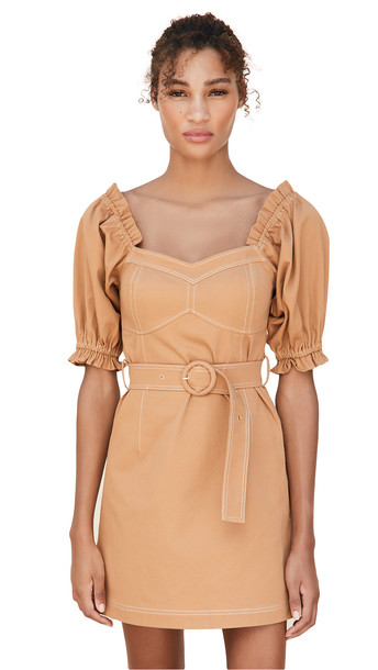Suboo Iman Balloon Sleeve Mini Dress in tan