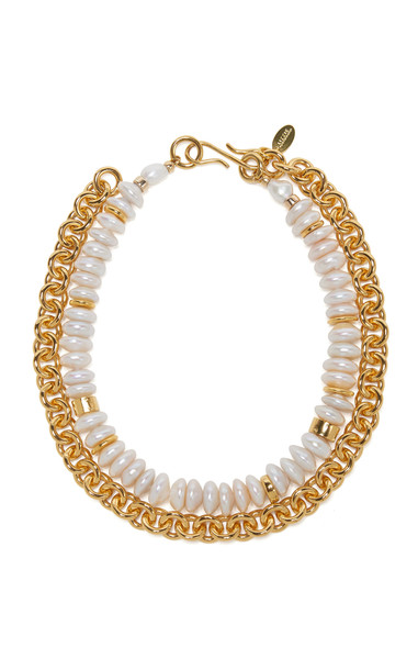 Lizzie Fortunato Pearl Embellished Kiki Necklace in gold