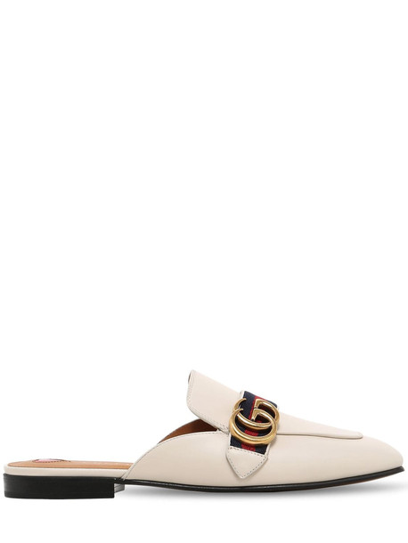 GUCCI 10mm Peyton Gg Leather Mules in white