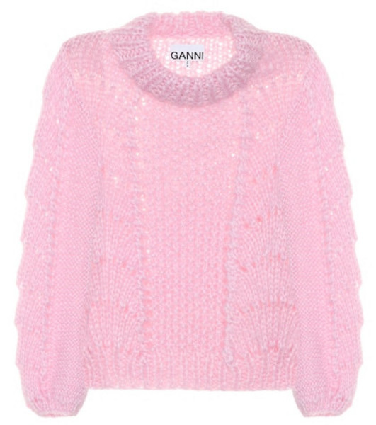 Ganni Wool and mohair sweater in pink