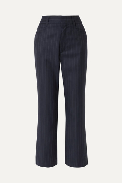 RE/DONE - 70s Cropped Pinstriped Wool Bootcut Pants - Navy