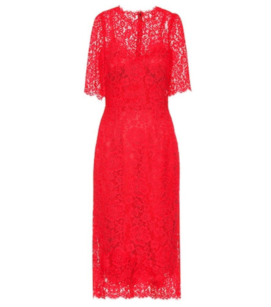 Dolce & Gabbana Lace midi dress in red