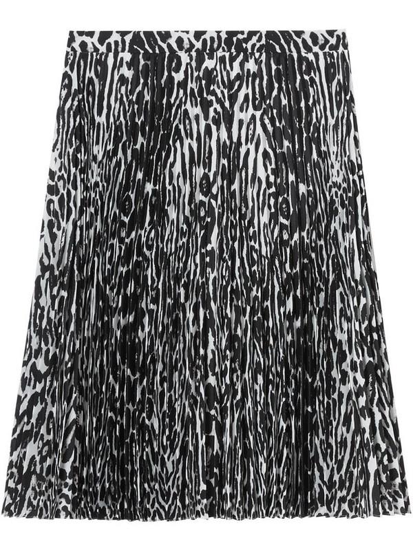 Burberry leopard print pleated skirt in black