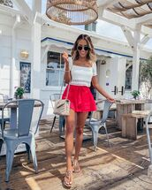 top,crop tops,white top,High waisted shorts,flat sandals,crossbody bag