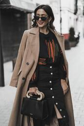 shoes and basics,blogger,coat,sweater,skirt,bag,shoes,winter outfits,button up skirt,brown coat