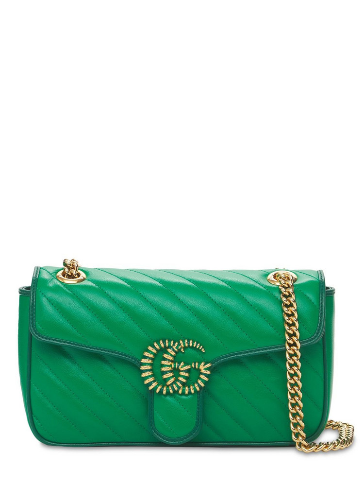 GUCCI Small Gg Matelassé Leather Marmont Bag in green