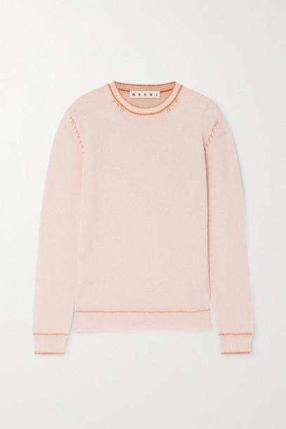 Marni - Topstitched Cashmere Sweater - Pastel pink