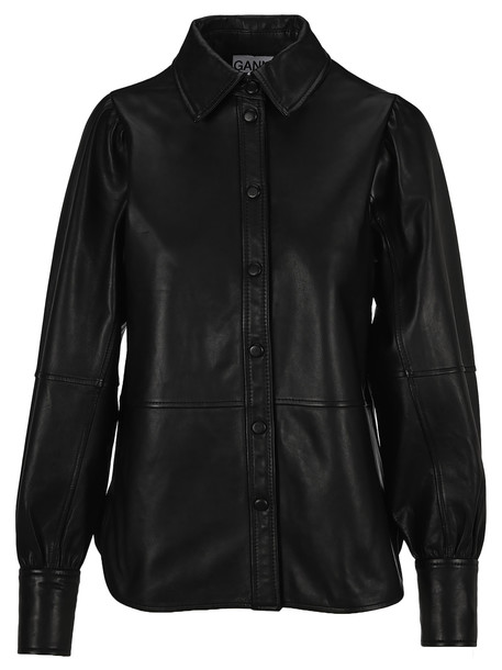 Ganni Leather Shirt in black