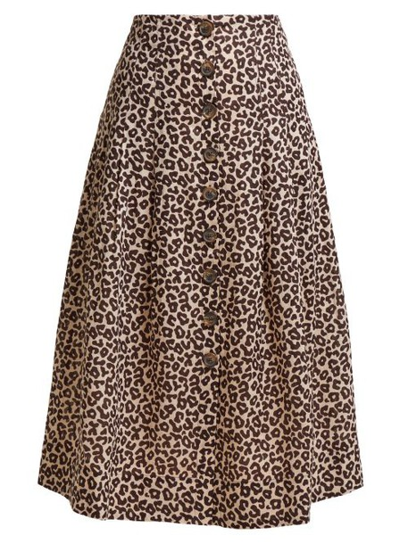 Sea - Lottie Leopard Print Button Skirt - Womens - Leopard