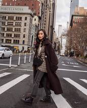 coat,brown coat,long coat,ankle boots,black boots,cropped jeans,grey jeans,blazer,plaid,white top,black bag