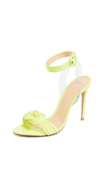Alexandre Birman Vicky Vinyl 100mm Sandals in yellow / transparent