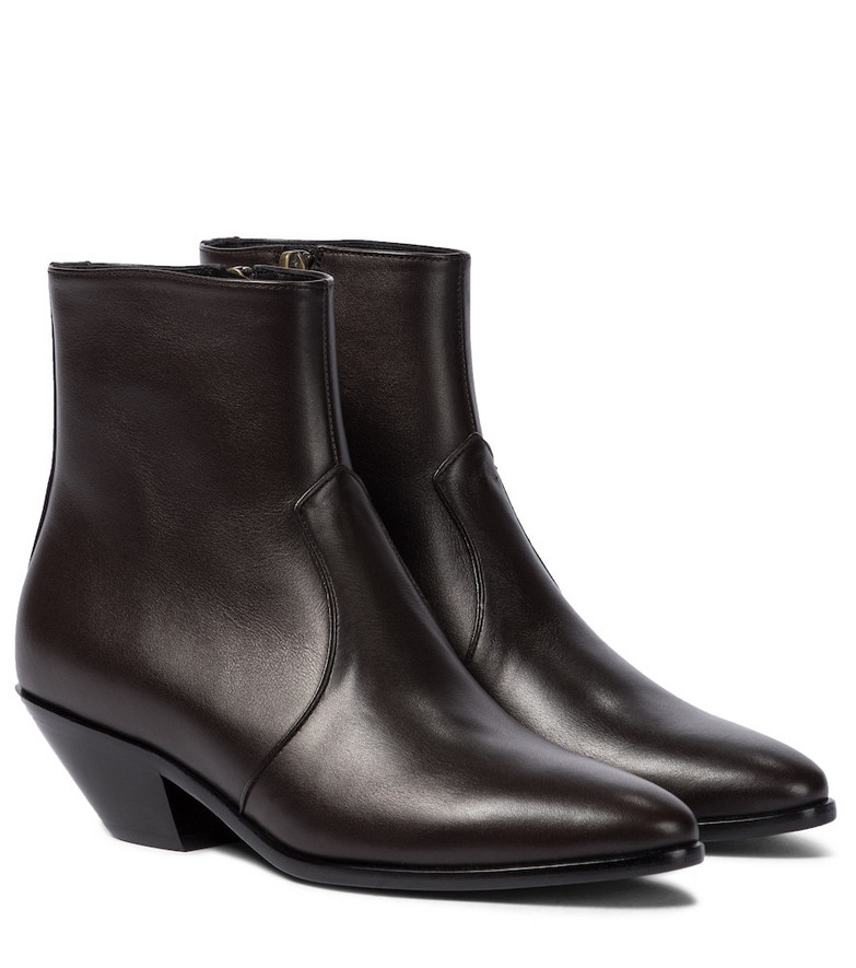 Saint Laurent West 45 leather ankle boots in brown