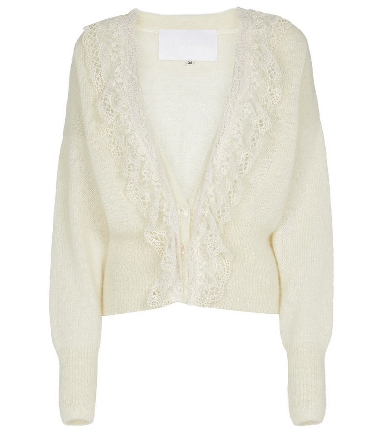 Costarellos Mohair-blend cardigan in white
