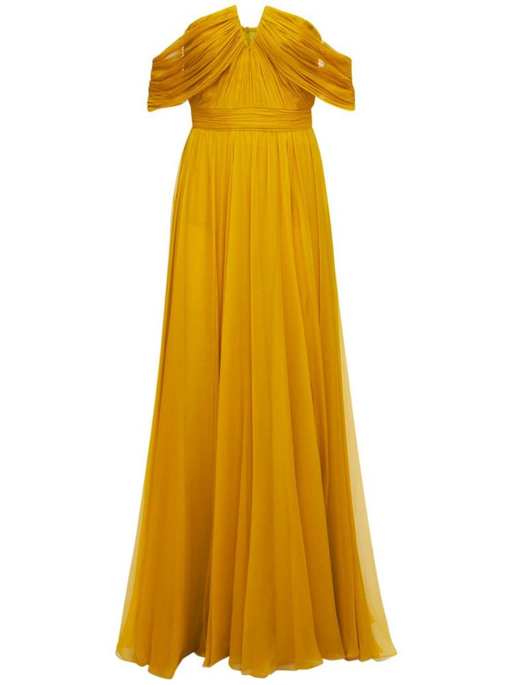 ZUHAIR MURAD Chiffon Strapless Long Dress in yellow