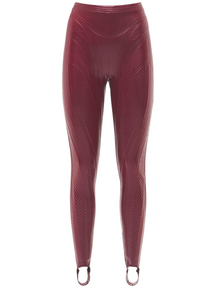MUGLER Embossed Shiny Stretch Jersey Leggings in red