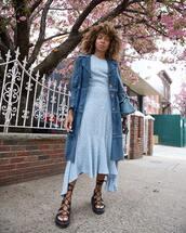 dress,midi dress,short sleeve dress,asymmetrical dress,platform sandals,blue coat,blue bag,loewe bag,blue dress