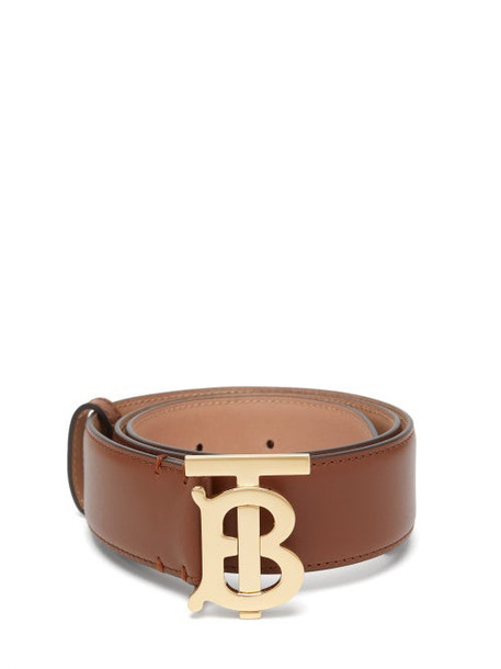 Burberry - Tb Logo-plaque Leather Belt - Womens - Tan Gold