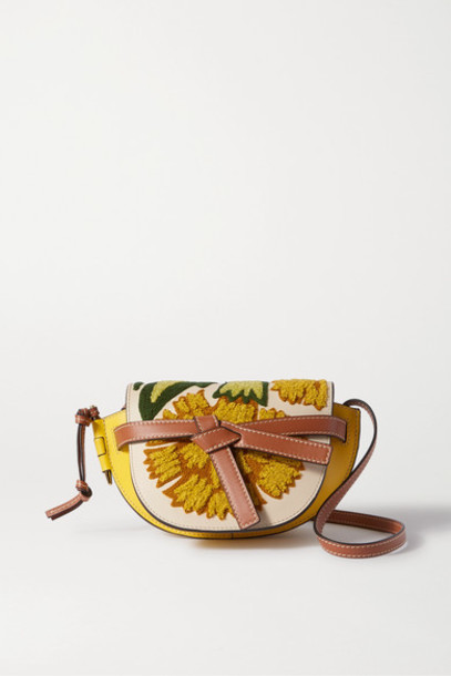Loewe - Gate Mini Embroidered Leather Shoulder Bag - Yellow