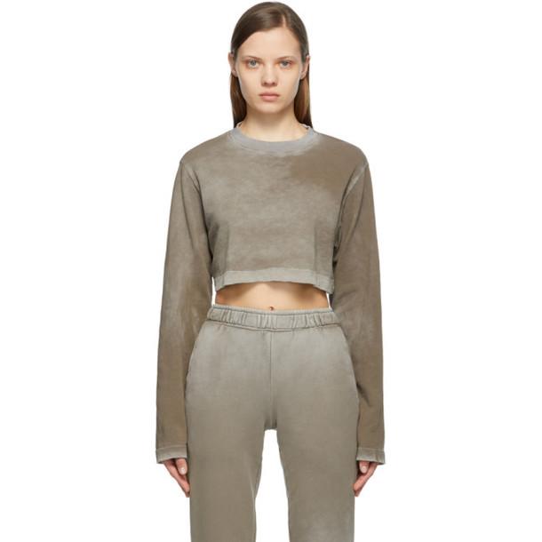 COTTON CITIZEN Grey Crop Tokyo Long Sleeve T-Shirt