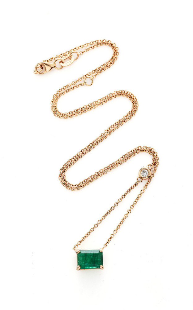 Shay 18K Rose Gold Emerald And Diamond Necklace in green