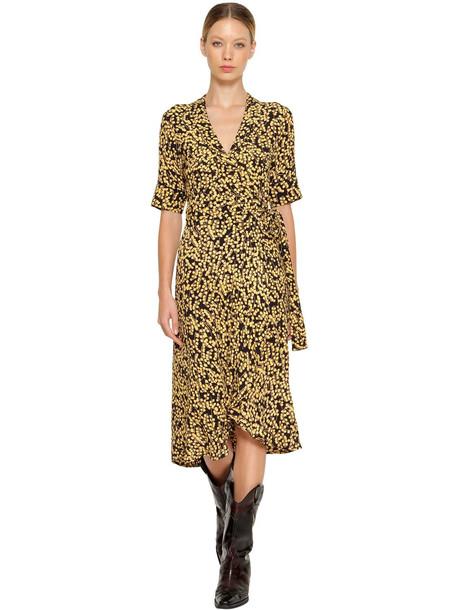 GANNI Printed Crepe Wrap Midi Dress in black / yellow
