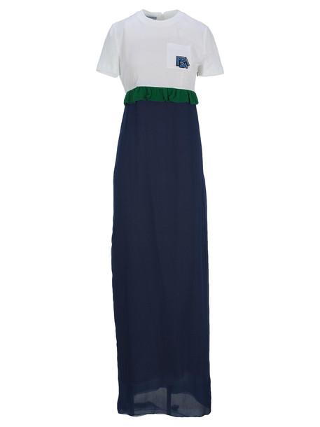 Prada Prada Long Ruffle-trim Dress in green / white