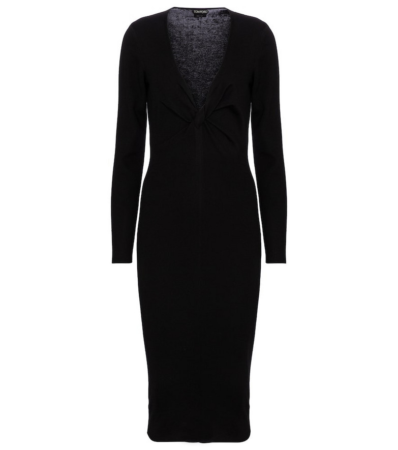Tom Ford Cashmere and silk midi dress in black