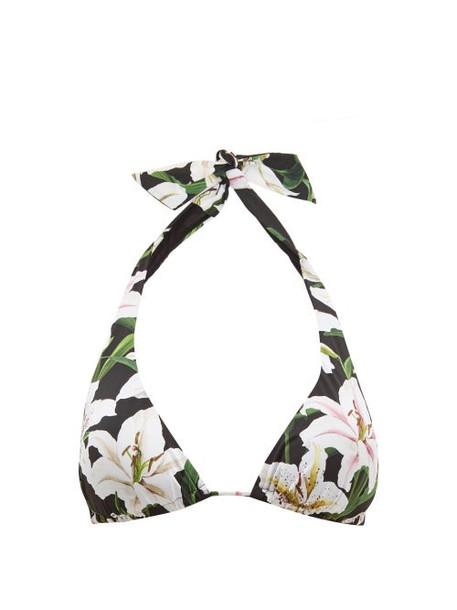 Dolce & Gabbana - Lily Print Triangle Bikini Top - Womens - Black Print