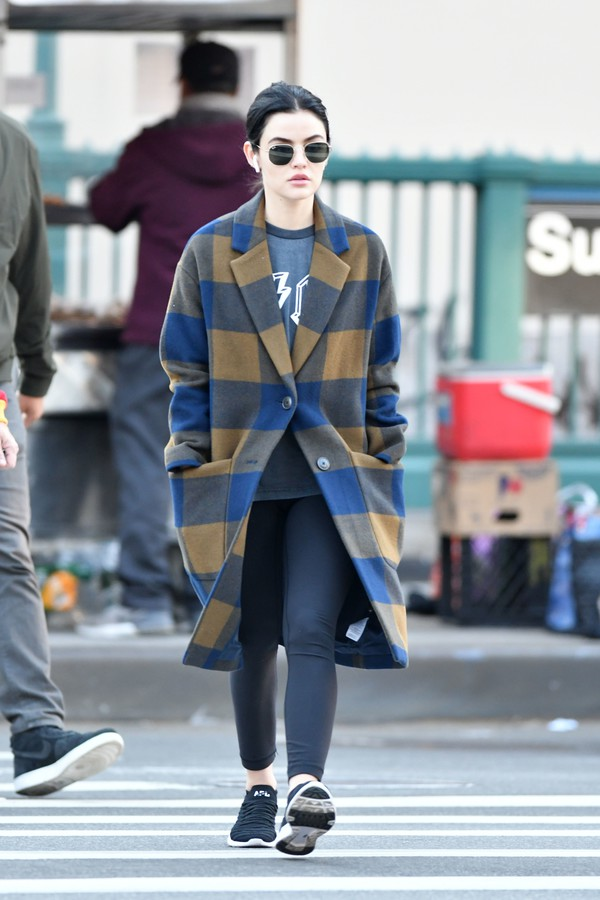 coat fall outfits fall coat fall colors celebrity lucy hale streetstyle