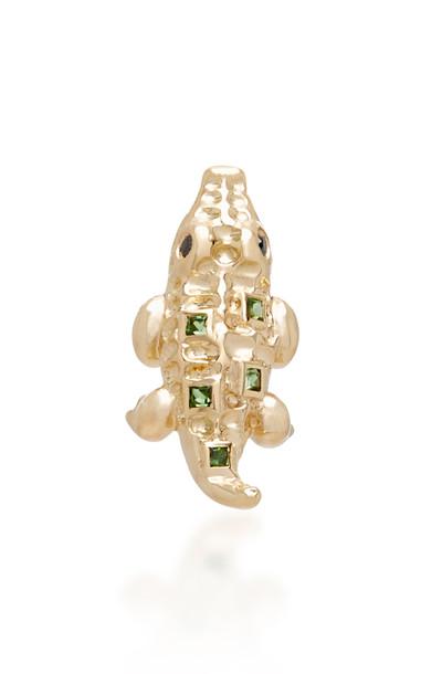 Yvonne Leon Mini Crocodile 18K Gold Tsavorites and Black Diamond Single Earring