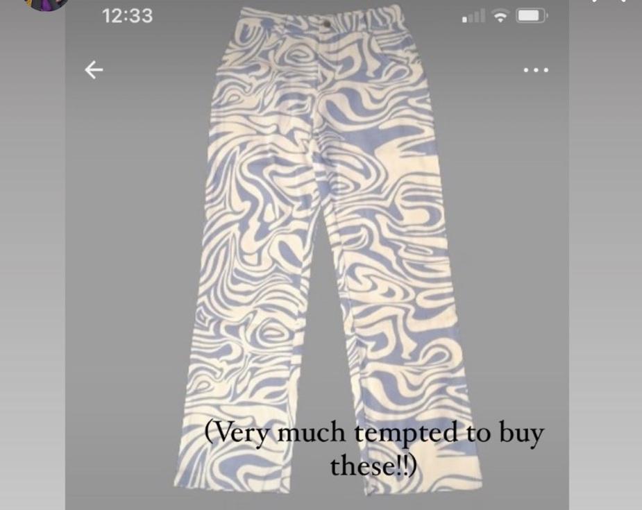 jeans blue white swirl stripe wide leg trousers/jeans