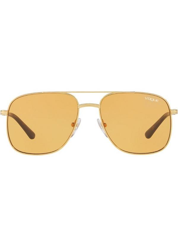 Vogue Eyewear Gigi Hadid capsule oversized aviator sunglasses in yellow