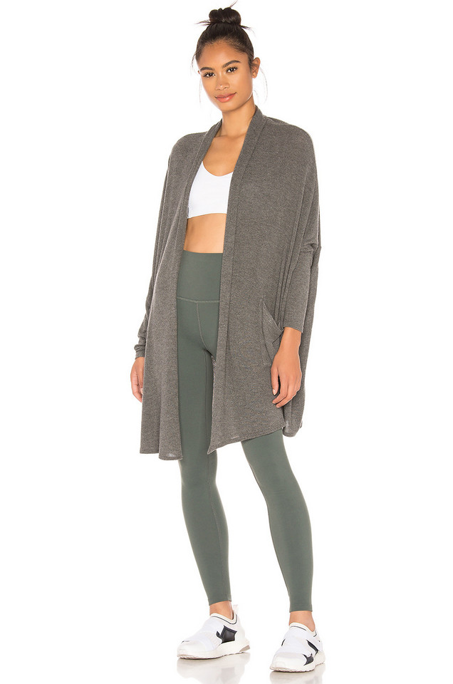 Beyond Yoga Brushed Up Easy Rider Origami Cardigan in gray