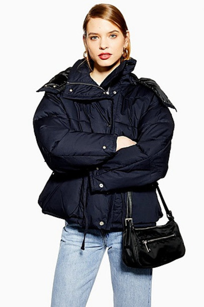 TopShop Tie Waist Navy Blue Parka Coat - Navy Blue