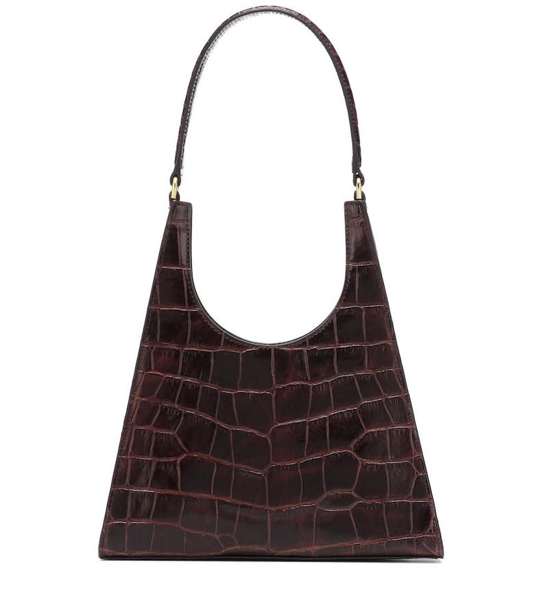 Staud Rey croc-effect leather shoulder bag in brown