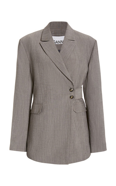 Ganni Melange Blazer in grey