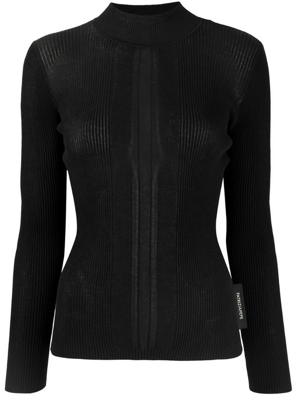 Patrizia Pepe ribbed knit mock neck jumper in black