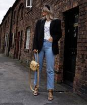 shoes,black sandals,high waisted jeans,cropped jeans,straight jeans,topshop,black blazer,white t-shirt,bag