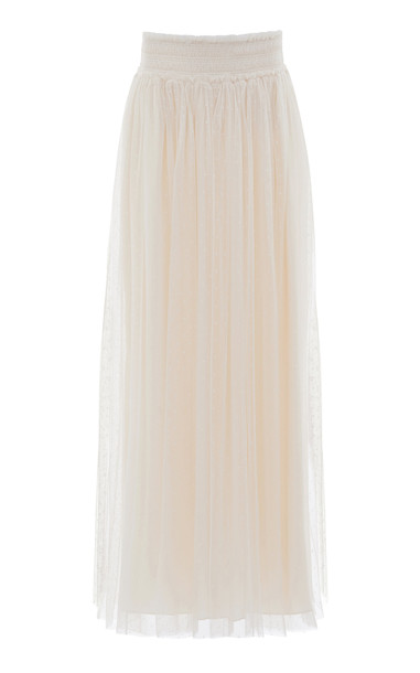Needle & Thread Honeycomb Smocked Maxi Skirt in white