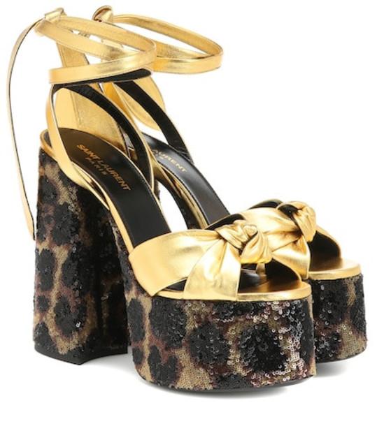 Saint Laurent Paige 105 leather plateau sandals in gold