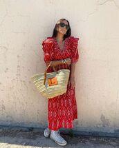 dress,red dress,long sleeve dress,sneakers,woven bag