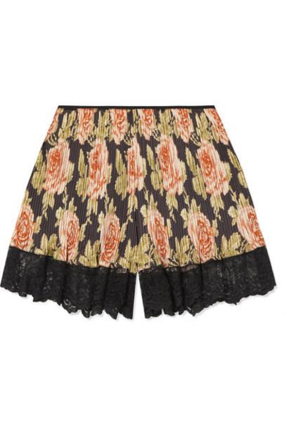 Paco Rabanne - Lace-trimmed Floral-print Plissé-satin Shorts - Pink