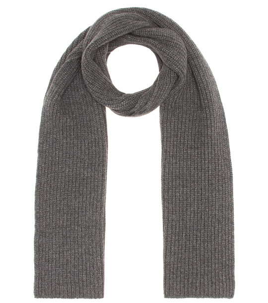 Agnona Ribbed cashmere scarf in grey