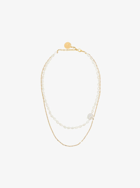 BY ALONA double chain pearl necklace in white