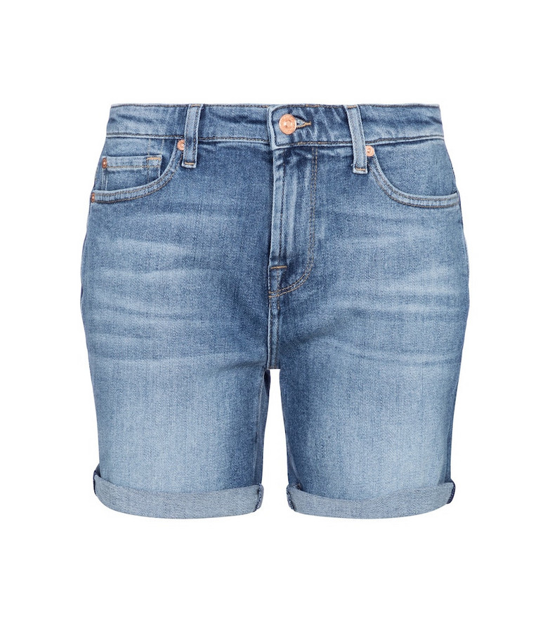 7 For All Mankind Boy mid-rise denim shorts in blue