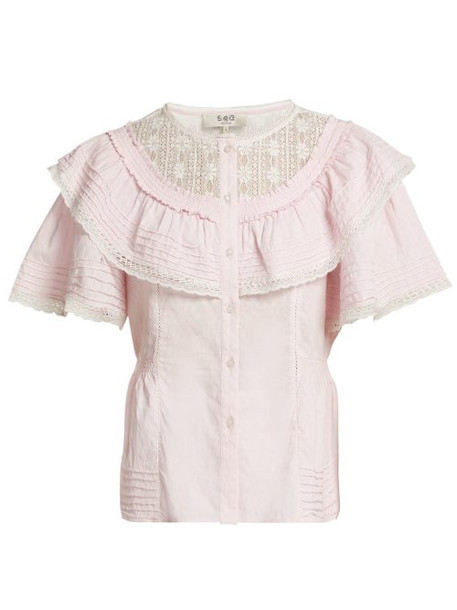 Sea - Crochet Lace Trimmed Cotton Top - Womens - Pink